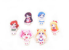 Anime Sailor Moon Set 6PCS Acrylic Pin Badge Toy Figure Mercury Mars Venus New