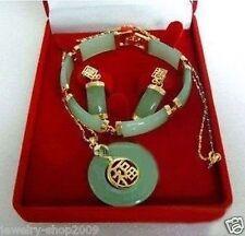 Jewelry real lucky jade pendant bracelet earrings sets