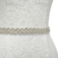 HOT Wedding Dress Sash Belt Satin Bridal Belt Sash w/ Beaded Crystal Rhinestone