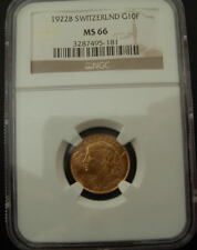 Switzerland 1922B Gold 10 Francs NGC MS-66