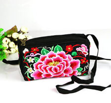 vintage handmade peony embroidery medium shoulder Messenger wallet handbag bags