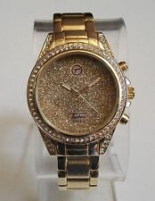 GOLD FINISH WITH GLITTER DIAL BLING  DESIGNER STYLE WOMEN'S BANGLE CUFF WATCH