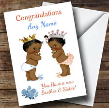 You Have Twin Brother & Sister Black Baby's Personalised New Baby Greetings Card