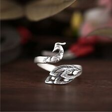 Chic 925 Soild Silver Thai Silver Retro Phoenix Adjustable Open Sterling Ring