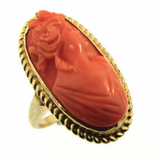 Coral Cameo Ring 14k Yellow Gold Size 5.5 Vintage Portrait of a Lady Roman Nose