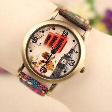 Classic Ethnic Leather Analog Quartz Weave Wrist Watch Womens Mens Boys Watches