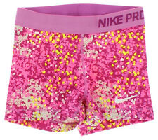 Nike Womens Pro Printed Compression Shorts Pink XS