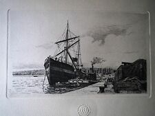 """RARE 8.5"""" HARBOR Nicolle CHALCOGRAPHIE Musee Du Louvre picture print French"""