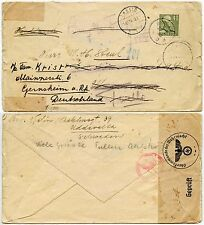 SWEDEN WW2 THIRD REICH CENSOR 1940 REDIRECTED from TWELLO to GERNSHEIM