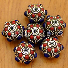BD2401A Nepalese Handmade Coral Lapis 6 Beads from Nepal Ethnic Tribal