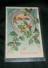 OLD GERMAN EMBOSSED MERRY CHRISTMAS POSTCARD, HORSESHOE & HOLLY, SILVER DECOR
