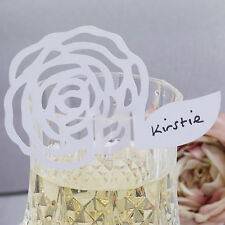 10 WHITE ROSE WINE GLASS Table PLACE CARDS Name Setting Wedding CHIC BOUTIQUE
