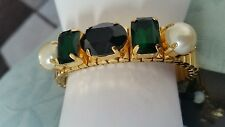 Bnwt Mimco Gold  stretch wrist Bracelet With Black & GREEN Crystals  + dust bag