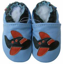 carozoo airplane light blue 5-6y soft sole leather kids shoes