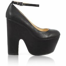 LADIES WOMENS CHUNKY THICK DEMI CUT WEDGE HIGH HEEL PLATFORM ANKLE STRAP SHOES