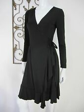 MAX AND CLEO LONG SLEEVE WRAP DRESS SIZE XS, BLACK