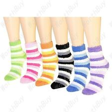 Non Skid 6 Pairs Womens Soft Cozy Fuzzy Winter Striped Slipper Socks Size 9-11