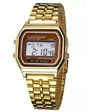 Vintage Classic Unisex Women Men Stainless Steel Digital Led Wrist Watch Gold