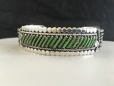 Native American  Sterling Silver Needlepoint Gaspeite Cuff Bracelet Signed