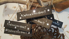 Wooden Sign  A Witch Lives Here Pagan Wicca Occult fun 5 Pointed Stars Pentacle