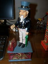 Cast Iron Uncle Sam Mechanical Bank reproduction of classic works good