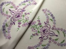 GORGEOUS VINTAGE HAND EMBROIDERED TABLECLOTH ~ BEAUTIFUL LILAC FLORALS 48x46""