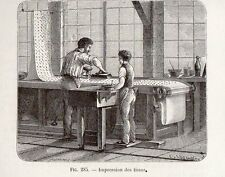 INDUSTRIE IMPRESSION DES TISSUS IMAGE 1875 INDUSTRY OLD FABRIC PRINT