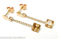 9ct Gold Citrine Long Drop Earrings Gift Boxed Made in UK