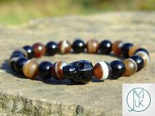 Men Agate/Onyx Skull Bracelet with Swarovski Crystal 7-8inch Elasticated Chakra