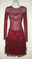 Betsey Johnson Set S 8 Tiered Skirt + Sheer Top Mesh Plaid Sequined Heart