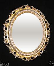 Großer Bilderrahmen Oval Gold-Weiß mit Schutzglas Barock Antik 68x58 Fotorahmen