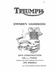 Triumph Owners Manual Book 1970 Tiger T100S & Tiger T100T