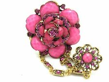 Flower Bracelet w Attached Adjustable Pink Crystal Ring Slave Women New