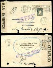 IRELAND 1940 LEVENTHAL ENVELOPE + RETURNED + CENSOR
