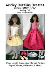 """Dazzling Doll Clothes Sewing Pattern 12"""" Marley & 14"""" Patience dolls Tonner"""