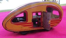 Vintage Japan Tin Litho Modern Toys Camper Trailer - Camping Tear Drop Car Truck