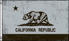 Silver & Black California State Flag 3x5 ft Republic Bear Raiders Colors Gray