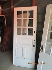 EXTERIOR ANTIQUE WOOD DOOR 9 PANES GLASS 2 VERTICAL PANELS ONE HORIZONTAL