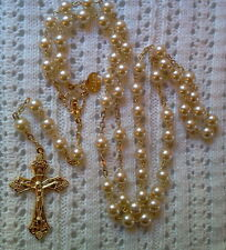 WHITE GLASS PEARL 18K GOLD PLATED ROSARY - MADE IN CZECH