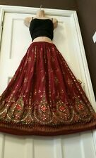 Ladies Indian Boho Hippie Long Sequin Skirt Rayon Gypsy Dance in BURGUNDY colour