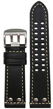 24mm Hadley-Roma MS915 Black Leather Watch Band For Luminox 125/75 24/22