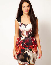 RIVER ISLAND FUTURISTIC RED BLACK FLORAL PRINT TULIP SHAPE DRESS UK10 EU36 BNWT