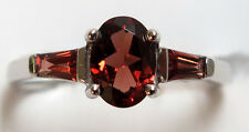 14K Solid White Gold Garnet=1.20 ct. Ring - Size 7 1/2