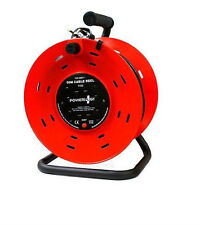 New 50M Reel 4 Socket Way 13 Amp 240v Heavy Duty Cable Mains Extension Lead