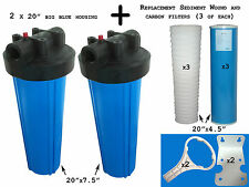 """20"""" Big Blue Water Filter Housing Wholehouse Filter Kit with Filters and Parts"""