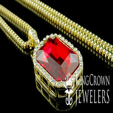 Mens Gold Finish Rick Ross Red Ruby Solitaire Emerald Cut Pendant Box Chain Set