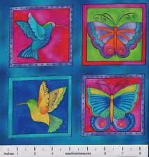 Flying Colors II Laurel Burch Butterfly Dragonfly SQUARES AQUA Panel Fabric