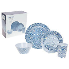 16pc Indaco A Righe Set da cena melammina Outdoor Picnic Piatti Ciotole Dinnerware