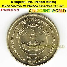INDIAN COUNCIL OF MEDICAL RESEARCH 1911-2011 Nickel-Brass 5 Rupees UNC 1 Coin