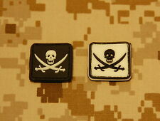 2 x Glow-In-The-Dark Calico Jack PVC Patches Jolly Roger Navy SEAL Pirate Flag